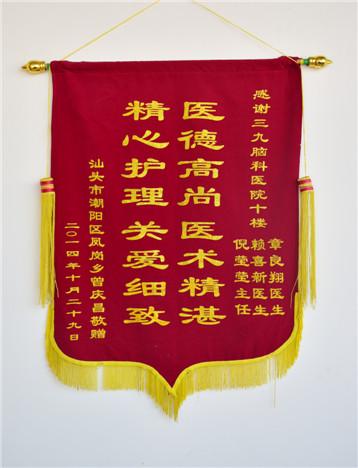 患者曾庆昌,男,53岁,因脑梗塞于2009年4月入院,经治疗,家属对疗效满意,特送来锦旗表示感激。