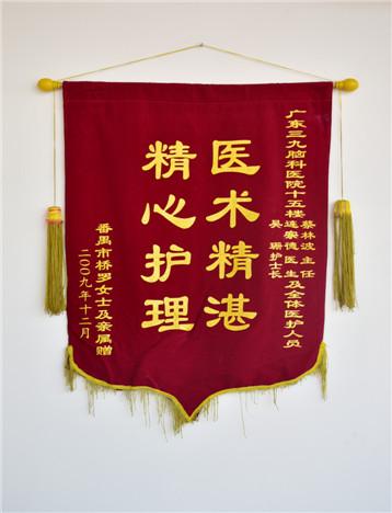 患者(罗女士)入院治疗后,家属对疗效满意,特送来锦旗表示感激。