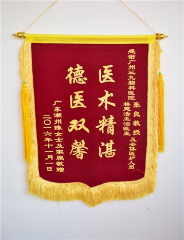 患者(陈女士)入院治疗后,家属对疗效满意,特送来锦旗表示感激。