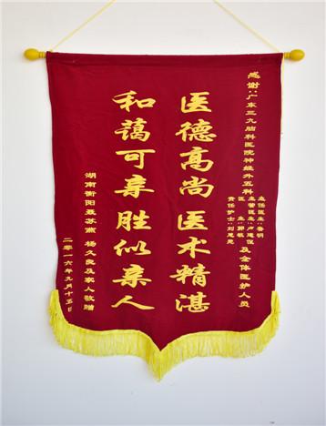 患者(杨久良)入院治疗后,家属对疗效满意,特送来锦旗表示感激。