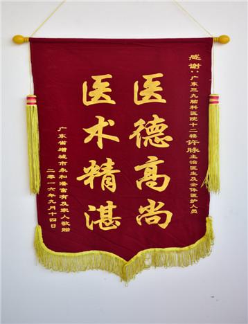 患者(潘富有)入院治疗后,家属对疗效满意,特送来锦旗表示感激。