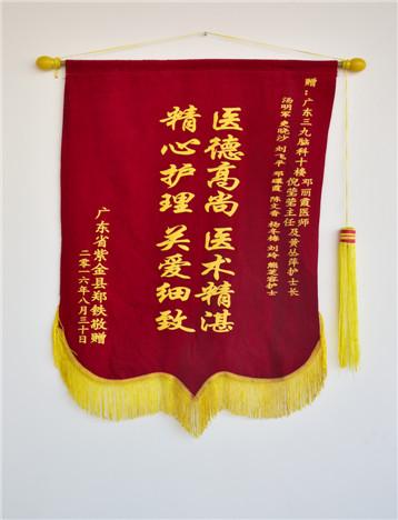 患者(郑铁)入院治疗后,家属对疗效满意,特送来锦旗表示感激。