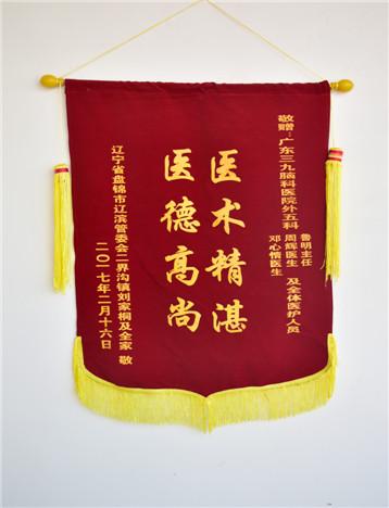 患者(刘家桐)入院治疗后,家属对疗效满意,特送来锦旗表示感激。
