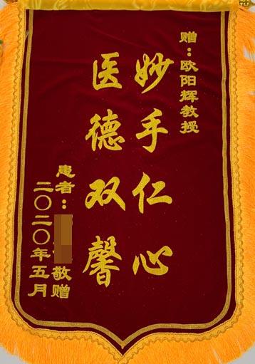 送给神经外九科欧阳辉教授的锦旗
